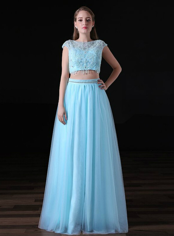 Blue Two Piece Cap Sleeve Tulle Beading Prom Dress