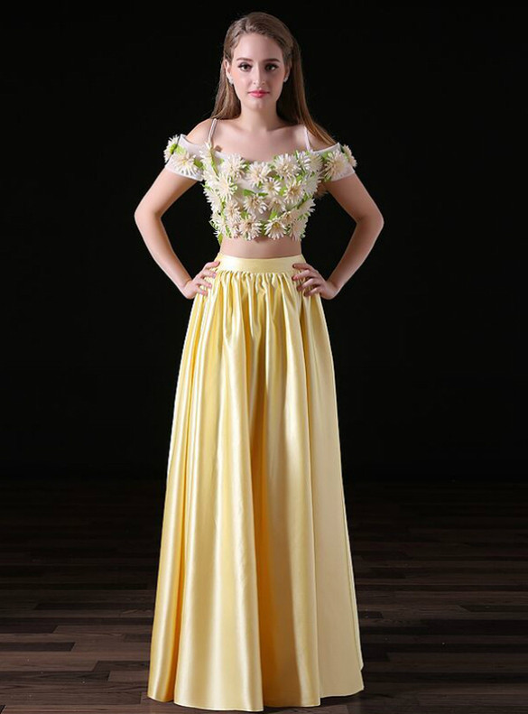 Yellow Satin Appliques Two Piece Prom Dress
