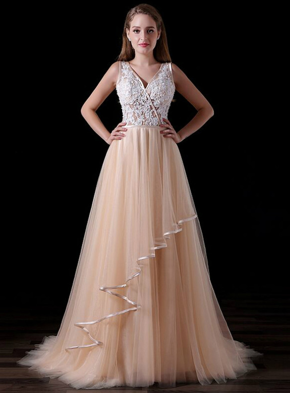 Champagne Tulle V-neck Backless Appliques Prom Dress
