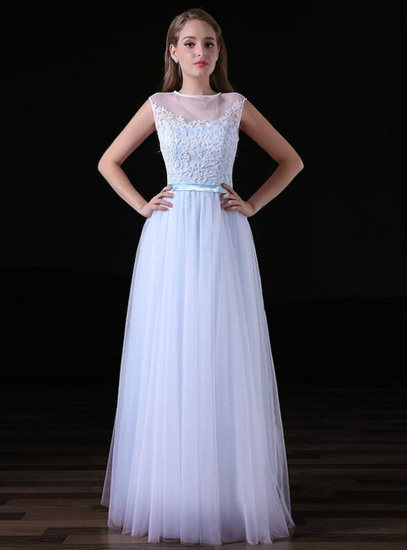 Light Blue Tulle Lace Illusion Back Prom Dress