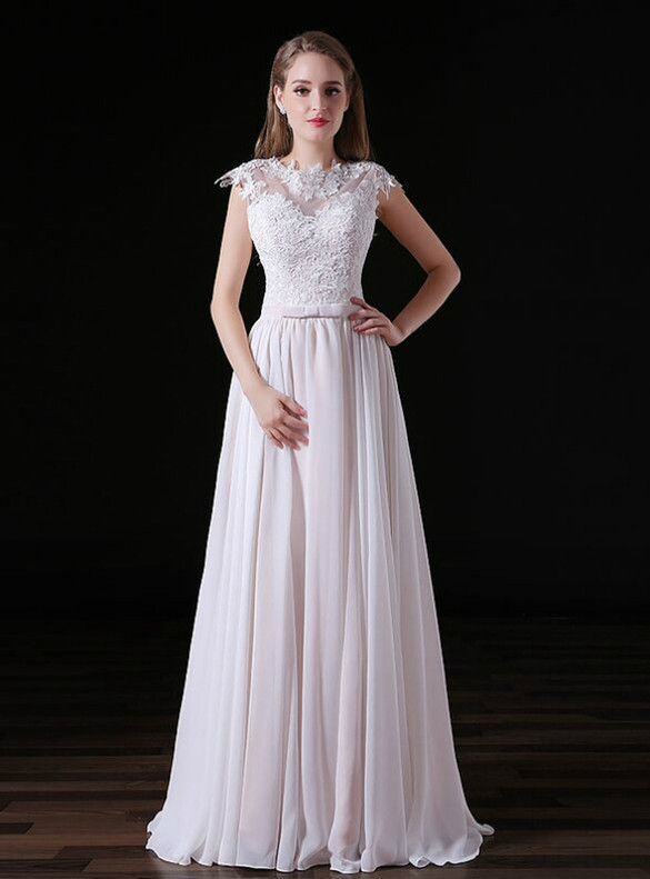 White Tulle Lace Appliques Backless Prom Dress
