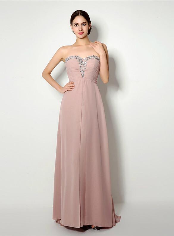 Pink Chiffon Strapless Crystal Pleats Prom Dress