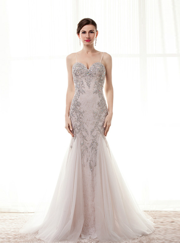 Mermaid Lace Spaghetti Straps Beading Crystal Prom Dress