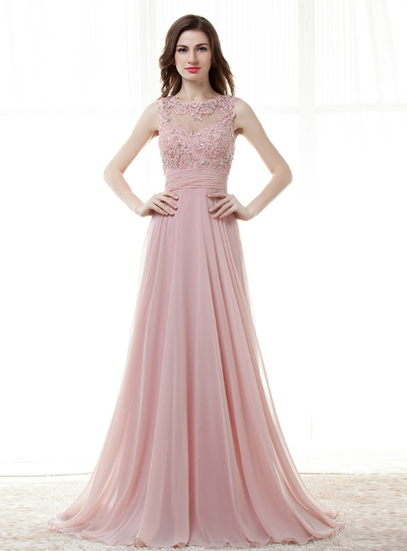 Pink Chiffon Lace Appliques Crystal Beading Prom Dress