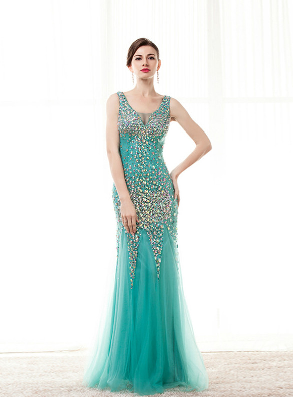 Green Mermaid Crystal Beading Sequins Prom Dress