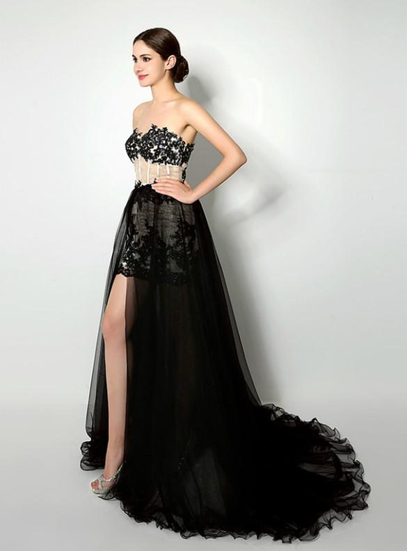 Black Lace Strapless Appliques Prom Dress With Detachable Train
