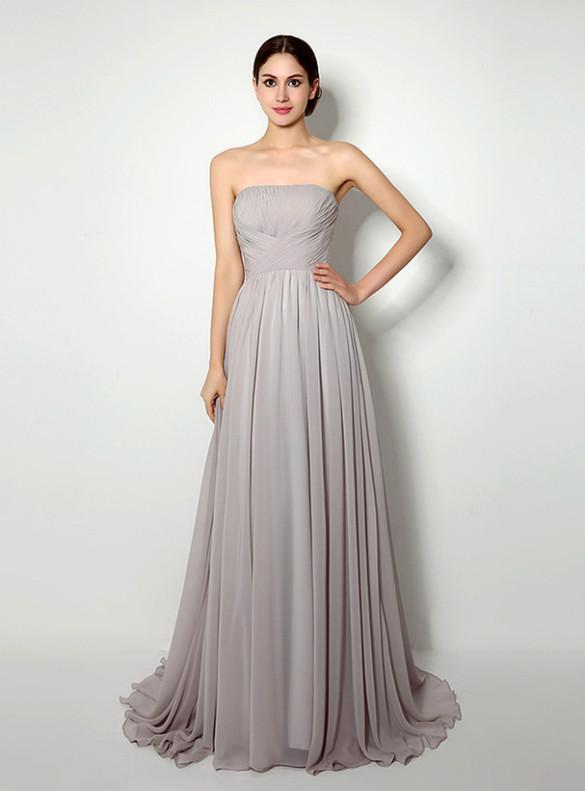 Simple Gray Chiffon Strapless Pleats Prom Dress