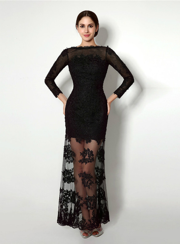 Sexy Black Lace Long Sleeve Backless Prom Dress