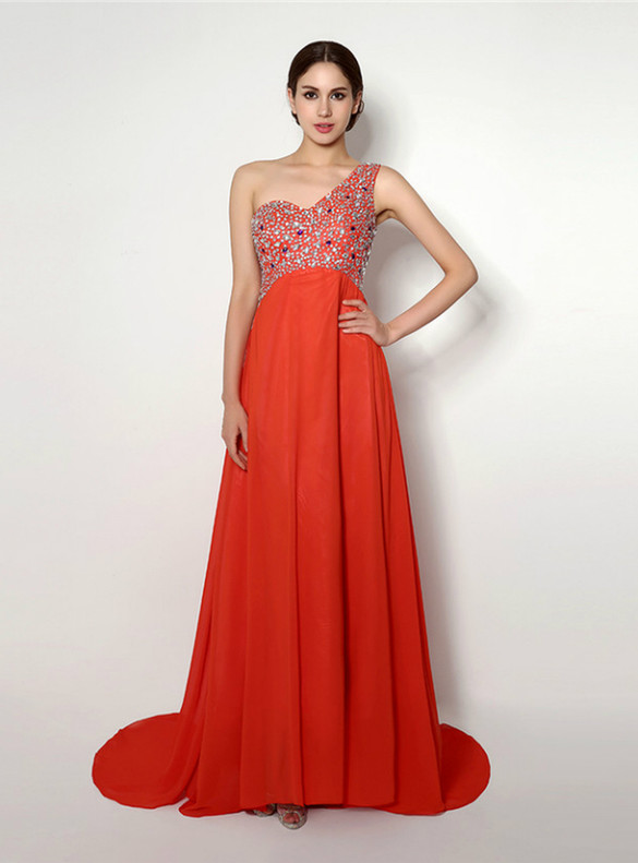 Red Chiffon One Shoulder Beading Crystal Prom Dress