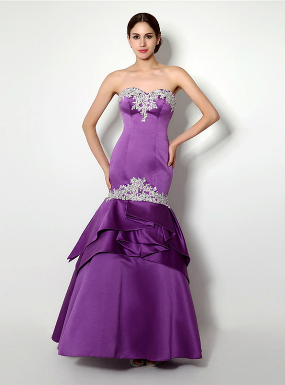 Purple Satin Strapless Appliques Prom Dress