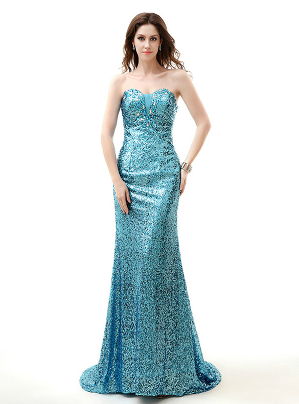 Blue Mermaid Sequins Strapless Crystal Prom Dress