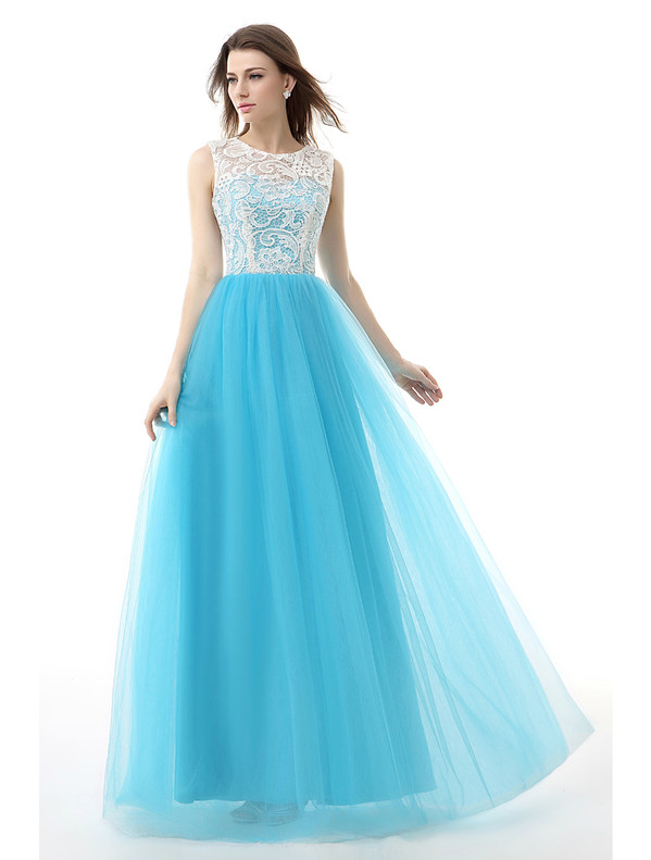 A-Line Blue Tulle Lace Scoop Prom Dress