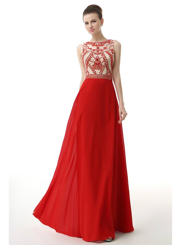 Red Chiffon Crystal Beading Scoop Prom Dress