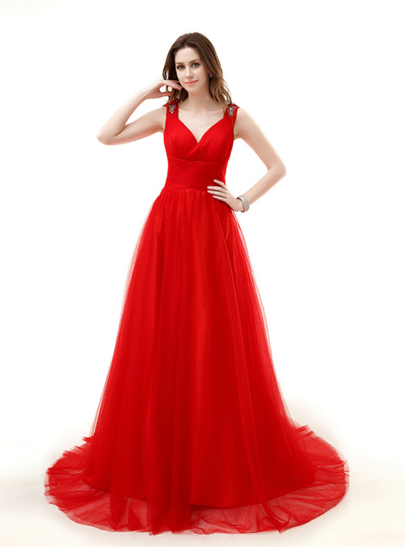 Red Tulle V-neck Illusion Back Beading Sequins Appliques Prom Dress