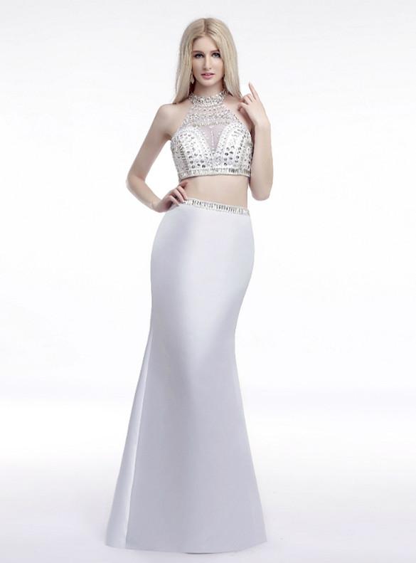 White Two Piece Mermaid Satin Halter Crystal Prom Dress