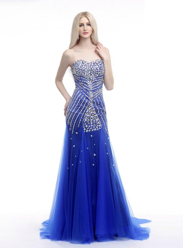 Royal Blue Tulle Mermaid Beading Crystal Prom Dress