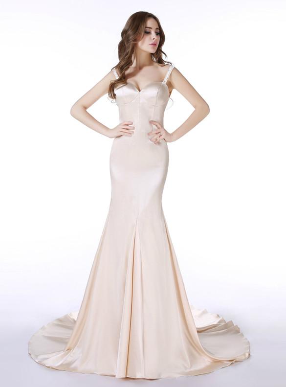 Champagne Satin Spaghetti Straps Beading Prom Dress
