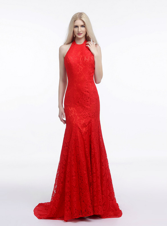 Sexy Red Mermaid Lace Halter Prom Dress