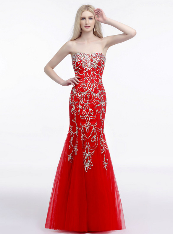 Luxury Red Tulle Strapless Beading Sequins Prom Dress