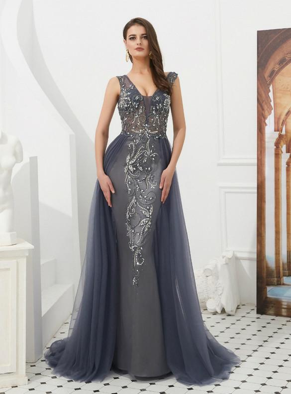 Sheath Tulle V-neck Backless Beading Sequins Prom Dress