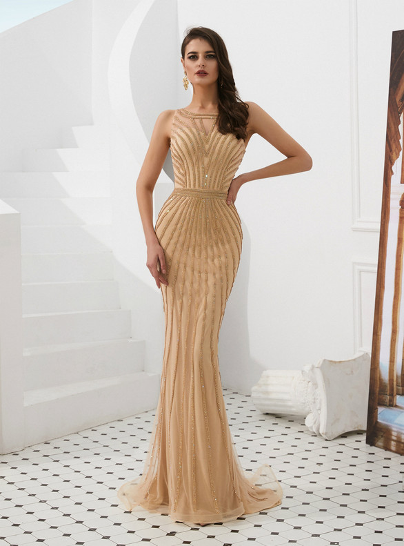 Gold Mermaid Beading Scoop Prom Dress