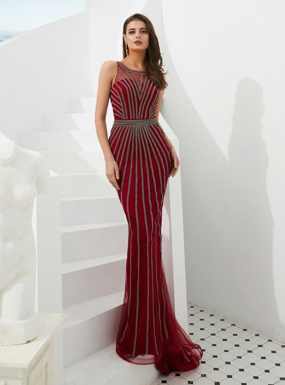 Sexy Burgundy Mermaid Beading Scoop Prom Dress