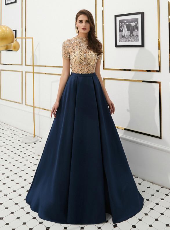 Navy Blue Satin Short Sleeve Beading Crystal Prom Dress