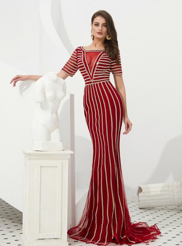 Burgundy Mermaid Tulle Short Sleeve Beading Prom Dress