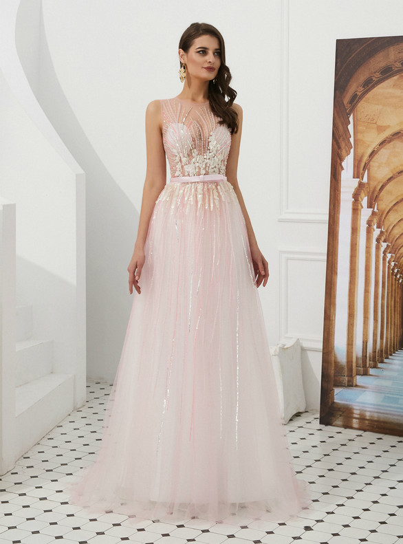 A-Line Pink Tulle Sequins Beading Prom Dress
