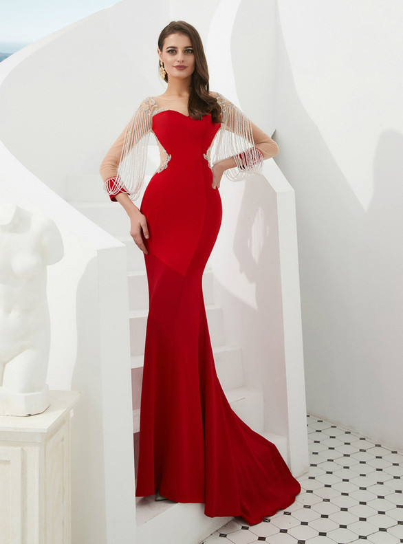 Red Mermaid Long Sleeve Beading Prom Dress