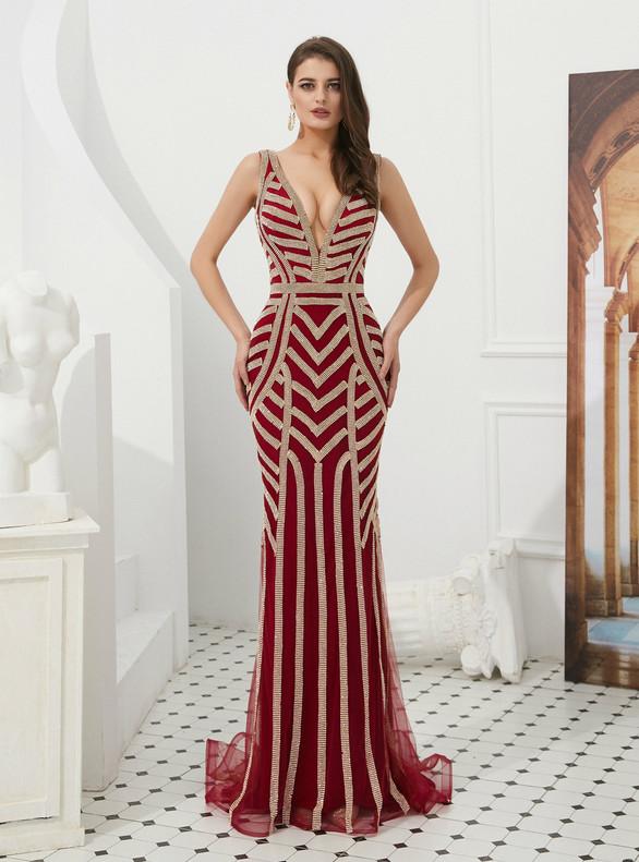 Burgundy Deep V-neck Tulle Beading Prom Dress