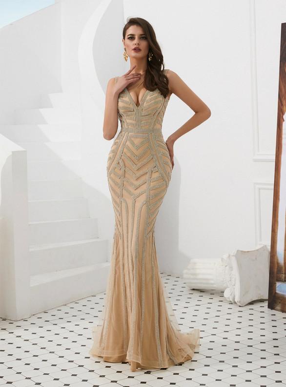 Gold Deep V-neck Tulle Beading Prom Dress