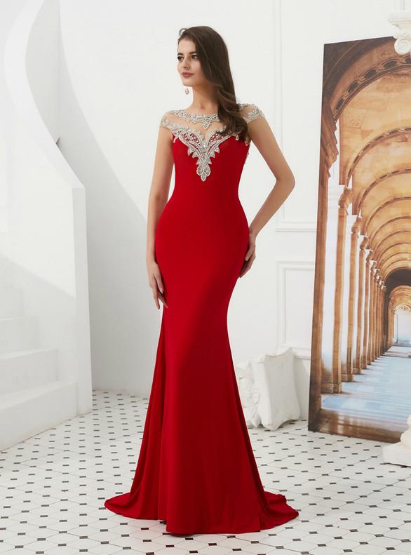 Red Mermaid Cap Sleeve Beading Backless Prom Dress