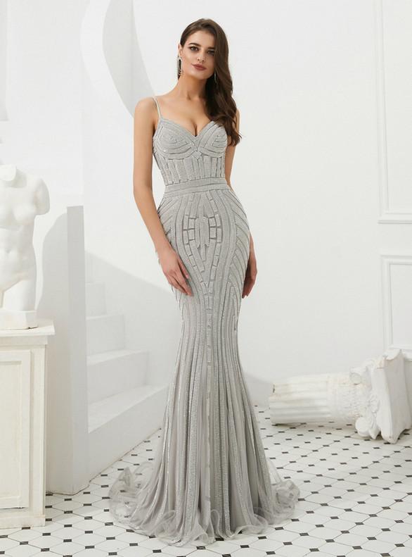 Silver Gray Mermaid Spaghetti Straps Beading Prom Dress