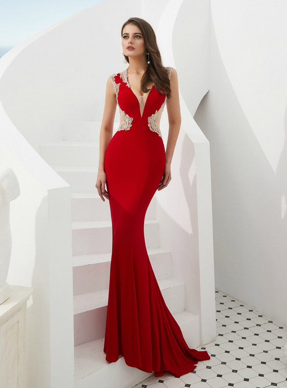 Red Mermaid Beading Illusion V-neck Back prom Dress
