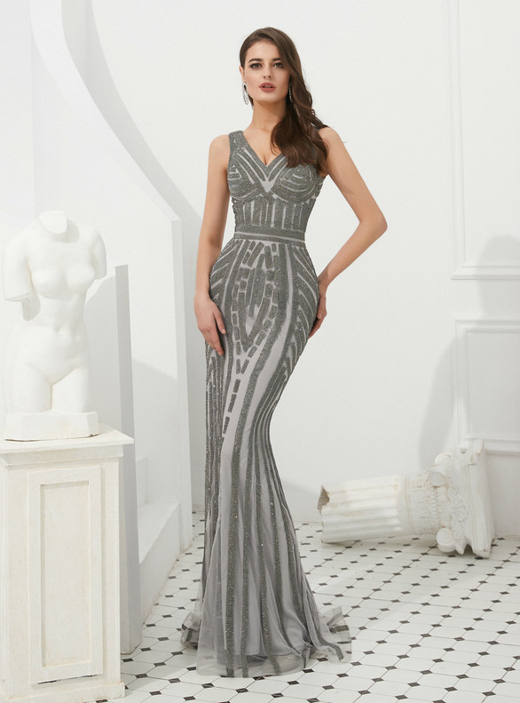 Fashion Gray Mermaid V-neck Beading Prom Dress