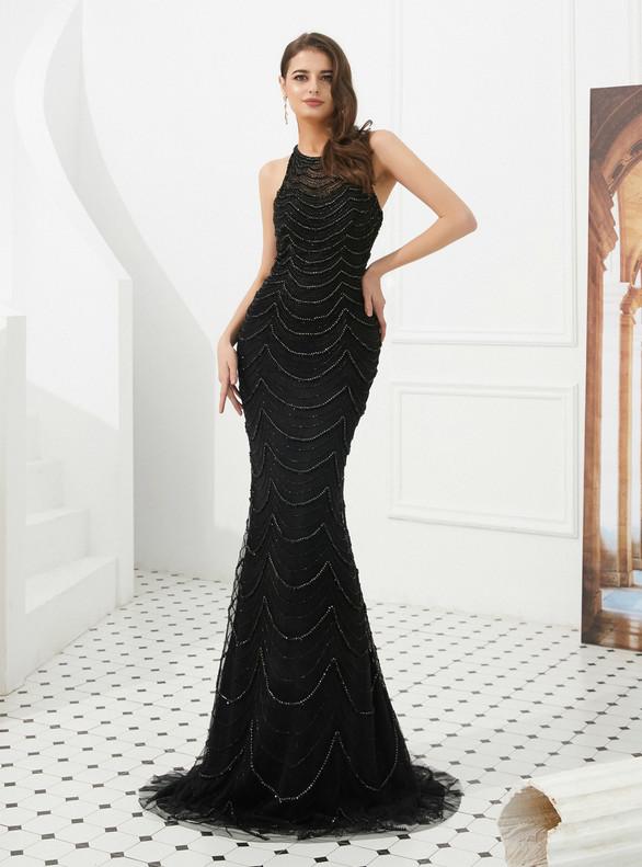 Black Mermaid Tulle Beading Illusion Back Prom Dress