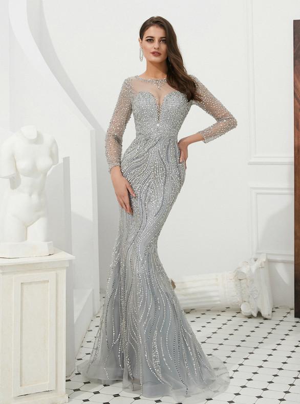 Gray Heavy Beading Sequins Long Sleeve Prom Dress