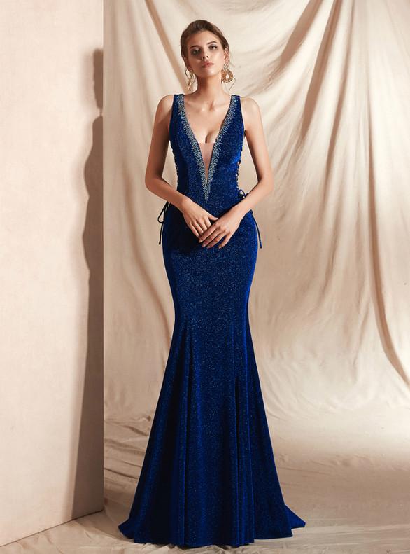 Blue Mermaid Deep V-neck Backless Lace Up Prom Dress
