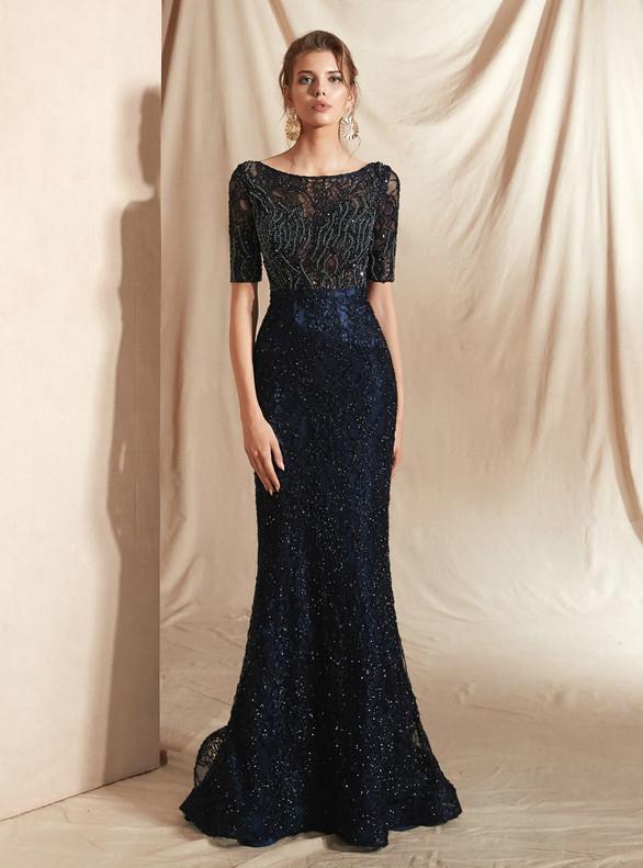 Navy Blue Mermaid Short Sleeve Beading Prom Dress