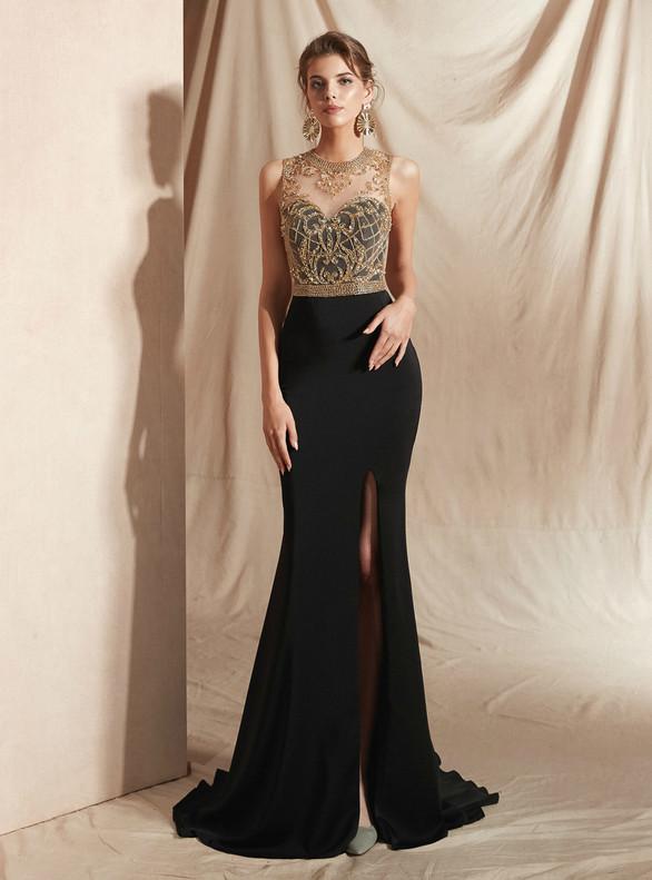 Black Mermaid Beading Prom Dress With Split