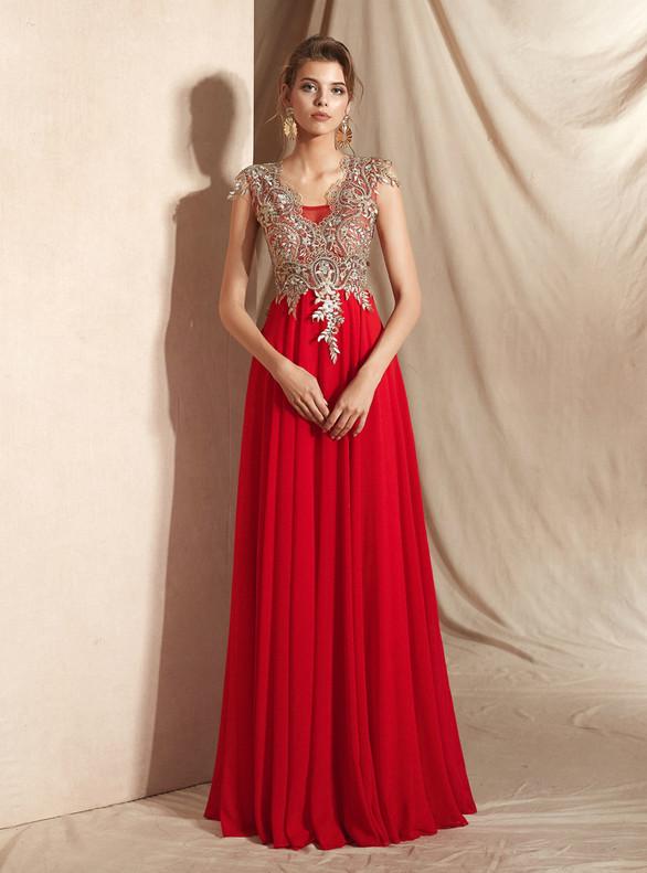A-Line Red Chiffon Appliques Sleeveless Prom Dress