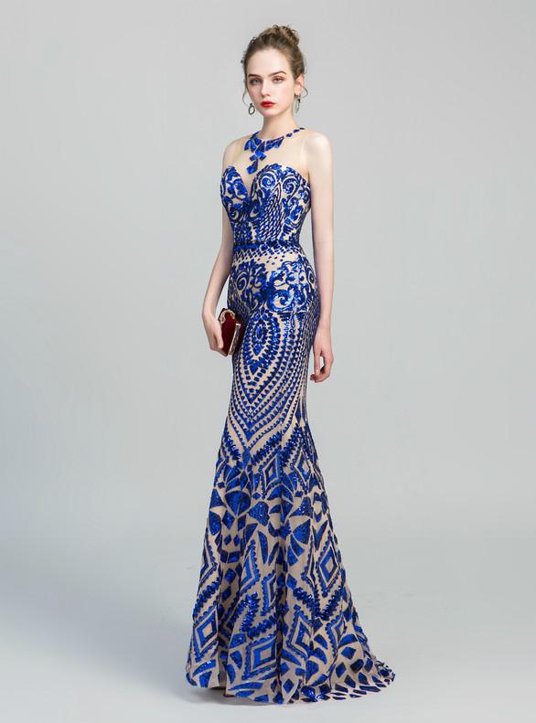 Sexy Royal Blue Mermaid Sequins Prom Dress