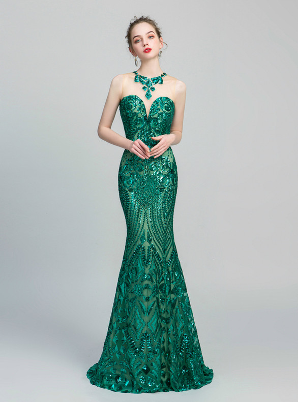 Sexy Green Blue Mermaid Sequins Prom Dress