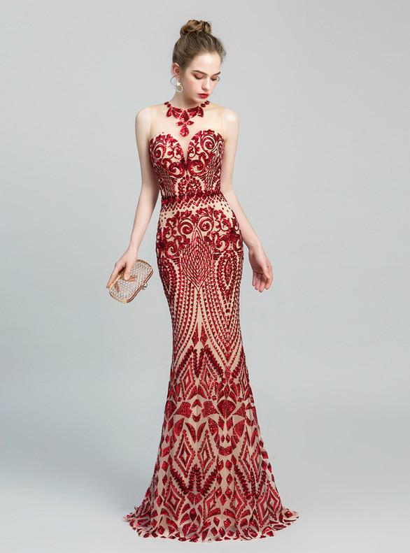 Red Mermaid Sequins Sleeveless Prom Dress