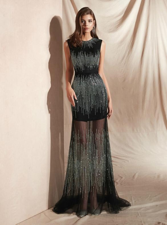 Sexy Illusion Black Tulle Beading Prom Dress