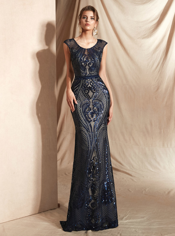 Navy Blue Mermaid Sequins Prom Dress