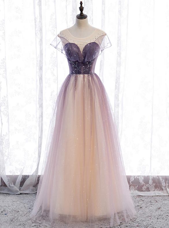 Purple Tulle Sequins Pleats Beading Prom Dress