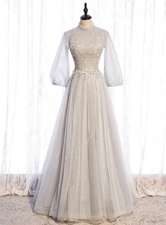 Silver Gray Sequins Tulle Long Sleeve Beading Prom Dress
