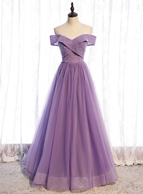 Tulle Off the Shoulder Beading Prom Dress